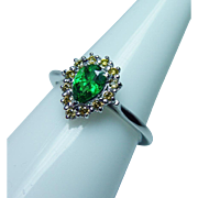 Vintage 14K White Gold Canary Diamond Tsavorite Garnet Ring Estate Dainty