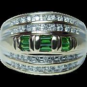 Vintage Tsavorite Garnet Diamond Ring 14K Gold Heavy Estate Size 10