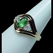 Vintage 18K Gold Diamond Tsavorite Garnet Trillion 3 stone Ring Estate GIA