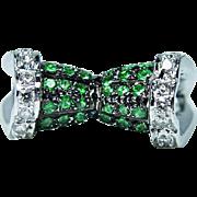Vintage Tsavorite Garnet Diamond Ring 18K White Gold Estate Jewelry