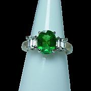 Vintage 18K Gold 3ct Tsavorite Garnet Emerald cut Diamond 3 Stone Ring Estate GIA