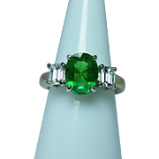 Vintage 18K Gold 3ct Tsavorite Garnet Emerald cut Diamond 3 Stone Ring Estate GIA