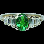 Vintage Tsavorite Garnet Baguette Diamond 14K Gold Ring Estate