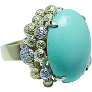 Vintage Turquoise Diamond 18K Gold Ring Giant Heavy 16gr Estate Jewelry