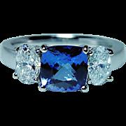 Vintage 18K White Gold Cushion Tanzanite Oval Diamond 3 stone Ring Estate