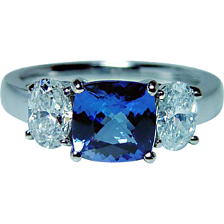 Vintage 18K White Gold Cushion Tanzanite Oval Diamond 3 stone Ring Estate