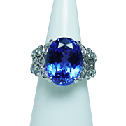 Richard Krementz 9.7ct Gem Tanzanite Diamond Ring Platinum Heavy Designer Signed Estate