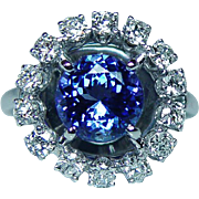 Vintage 3.2ct Gem Tanzanite Colorless Diamond Halo Ring 14K White Gold Estate
