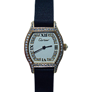 Vintage Cartier 18K Solid Gold Diamond Swiss Watch circa 1970s