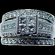 Vintage Princess Diamond Bridal Wedding Ring Set 14K White Gold 2ct Heavy Estate