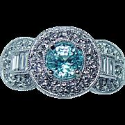 Vintage 18K White Gold Natural Blue Zircon Diamond Halo Ring Estate Jewelry
