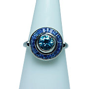 Vintage Natural Blue Zircon Diamond Halo Sapphire 14K White Gold Ring