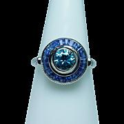 Vintage Natural Blue Zircon Diamond Halo Sapphire 14K White Gold Ring