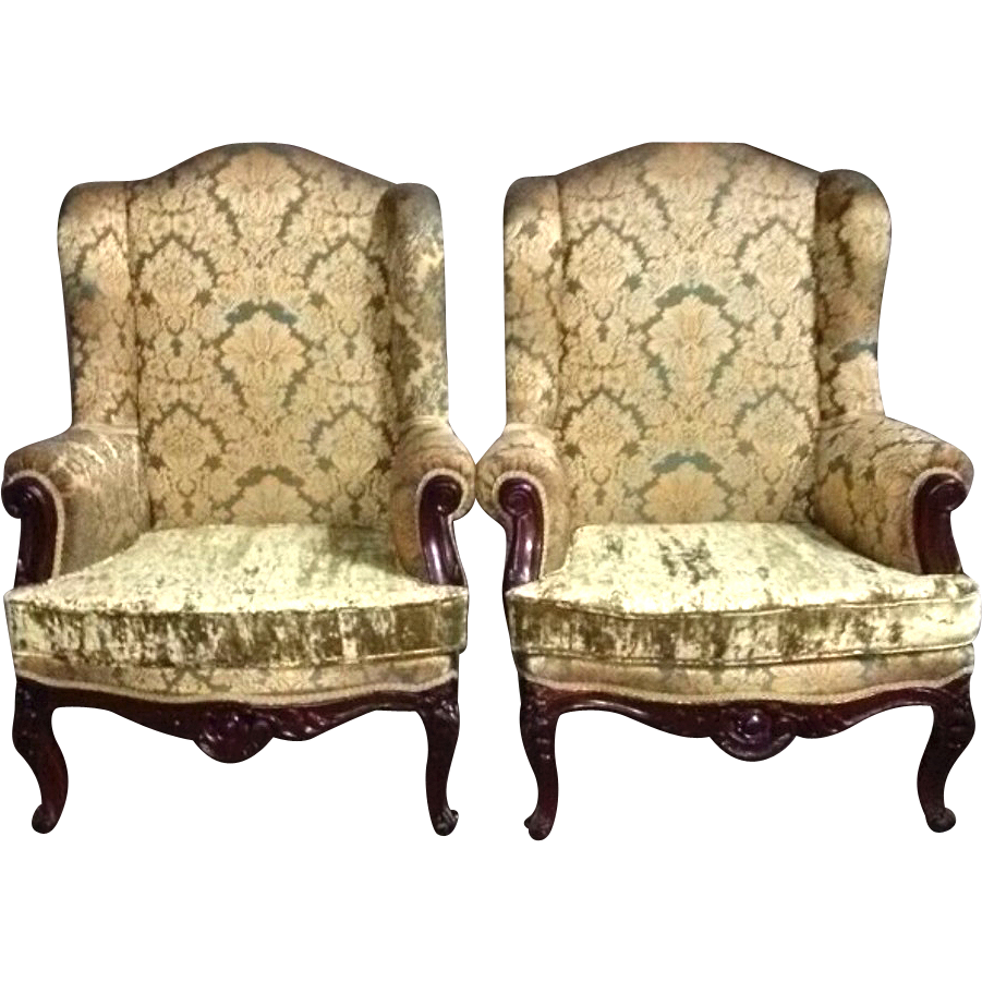 Elegant Two Beautiful Old Chairs In Big Model In French Louis XVI Style