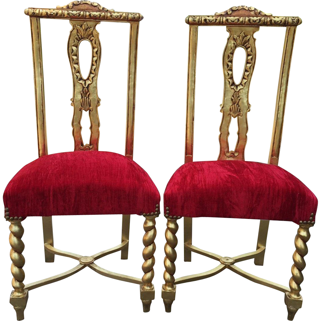 Set of two elegant dining room chairs from maisondantique for Fancy dining room chairs