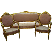 19th century loving complete set, sofa and 2 chairs in Louis XVI style