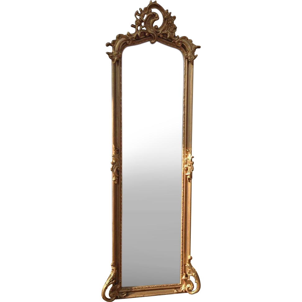 Elegant floor mirror in louis xvi style from for Long stand up mirror