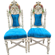 Unique hand made pair of two chairs in Venetian style