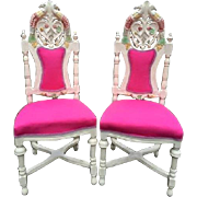 19th century Italian pair of two chairs