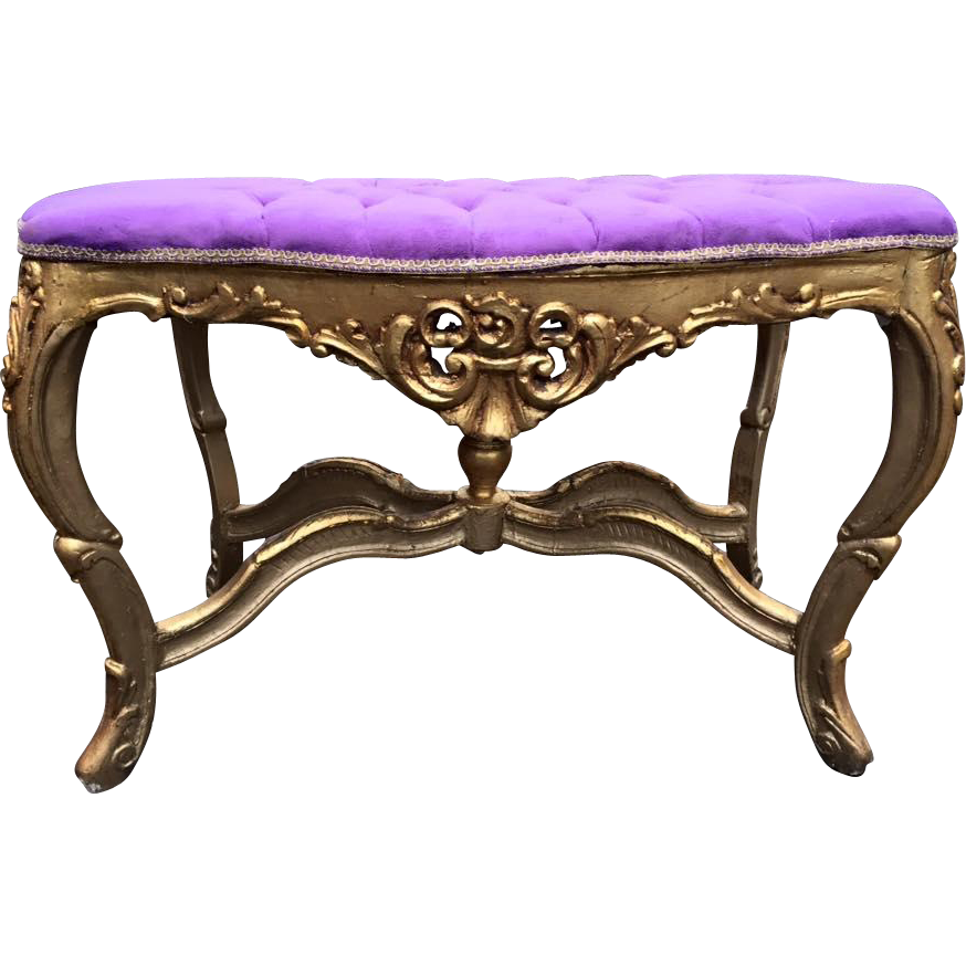 Stylish Purple Bed Bench Baroque Style From