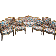 living room set, sofa and 6 chairs in Louis XVI French amazing style