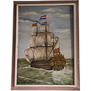 Dutch golden age oil painting of ship on the seas (Cromvoirt, 1968)