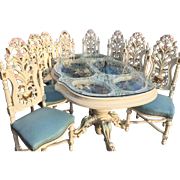 dining room set, table with 8 chairs in Italian style
