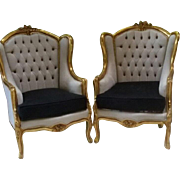Pair of armchairs, fauteuil, Louis XVI, French style