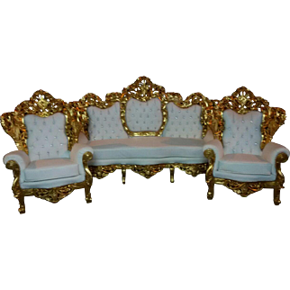 Deluxe baroque living room set, big sofa and 2 chairs