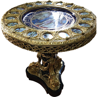 French Louis xvi center table with porcelain top