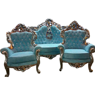 Baroque complete living room set, sofa and 2 chairs