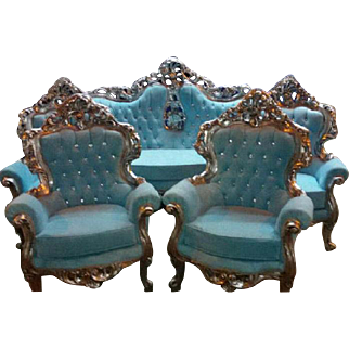 Special deluxe living room set, sofa and 4 chairs in Baroque style
