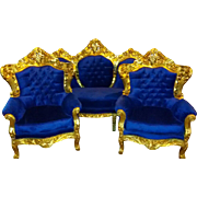 Baroque living room set, sofa and 2 chairs