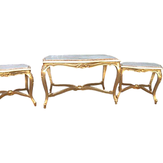Set of three tables in Louis xvi style