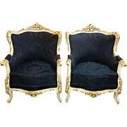 Baroque pair of two chairs in original wood frame