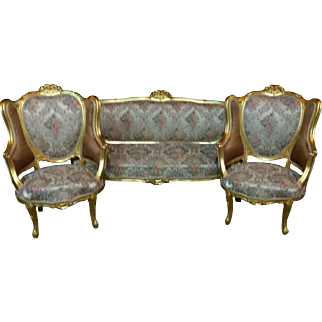 Sofa and 2 marquise chairs in Louis xvi style