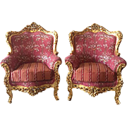 Pair of two chairs made in Louis xvi style
