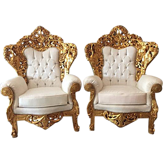 Pair of two chairs in Rococo style