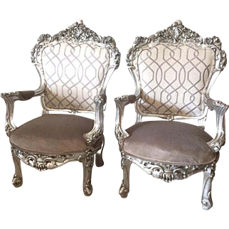 Baroque pair of two chairs, Italian carved frame and USA designed fabric