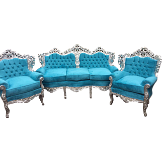 Baroque set, sofa and 2 chairs