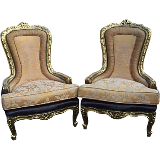 Pair of two chairs in unique shape in Louis xvi style