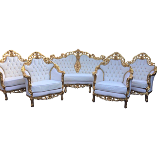 Italian white big living room set of 5 pieces