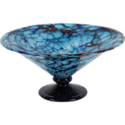 Charles Schneider Blue Art Glass Pedestal Bowl