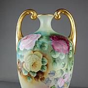 Vintage Limoges France Hand Painted Roses Muscle Vase Artist Signed