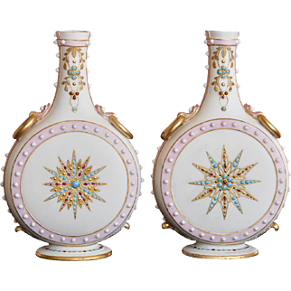 Pair 19th Century Royal Worcester Parian Jewelled Vases