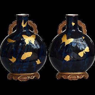 19th Century Pair Royal Worcester Aesthetic Movement Glazed Terracotta Moon Vases Moon Flasks c.1875