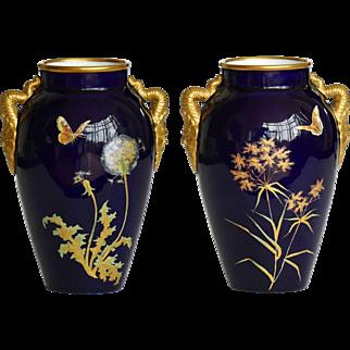 Pair 19th Century Grainger Worcester Porcelain Aesthetic Movement Vases c.1870