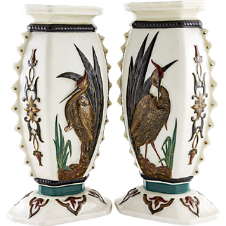 Pair of 19th Century Royal Worcester Porcelain Aesthetic Movement Vases c.1875