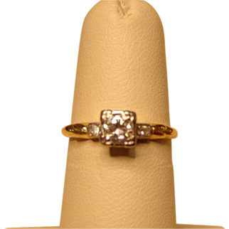 14k Yellow Gold Illusion Set .33ct Round Diamond