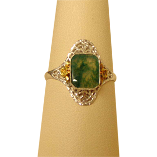 Moss Agate Filigree Ring with 10k Gold Flowers